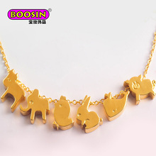 New design wholesale gold cute pig necklace sets for women long chain pendant alloy plated jewelry