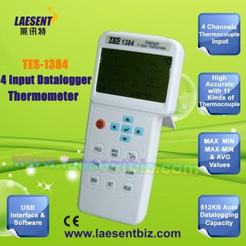 TES-1384 4 Inputs Datalogger Thermometer