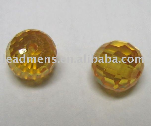 factory price yellow round shape facet loose beads