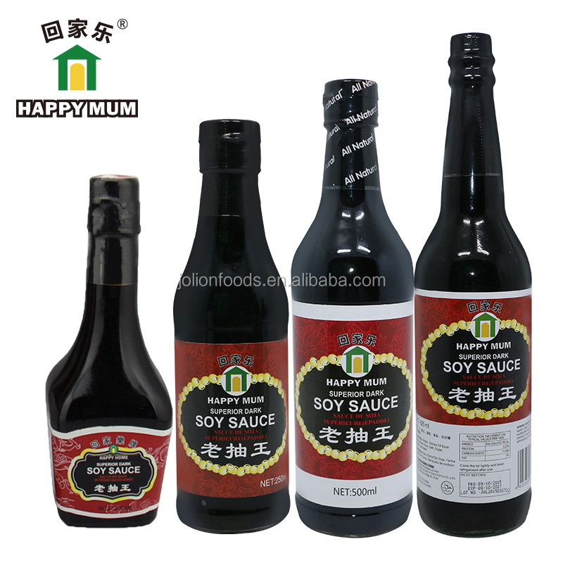 Chinese Natural Brewing Dark Soy Sauce 500ml Glass Bottle Worcester Sauce
