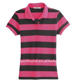 High quality 100% cotton women's pique stripe golf polo shirts