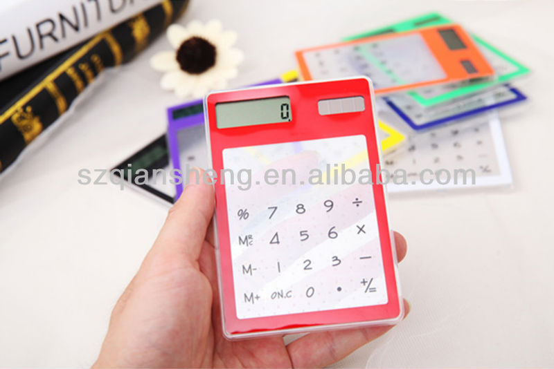 ultra-thin Transparent solar calculator with Touch screen keypad