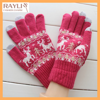 3color acceptable Amazig deer print full finger Professional Winter Knitted Smart Phone cute finger touch pad gloves