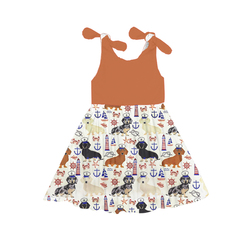 2018 sleeveless dog pattern children dress wholesale price baby girl party dress