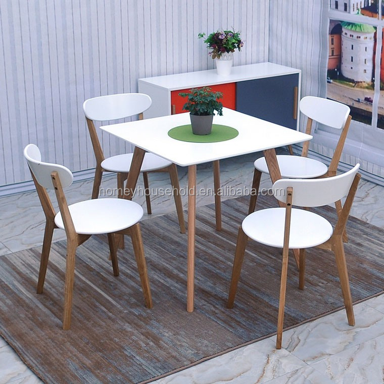 Modern Scandinavian Style Solid Oak White Dinning Table Set with Chairs