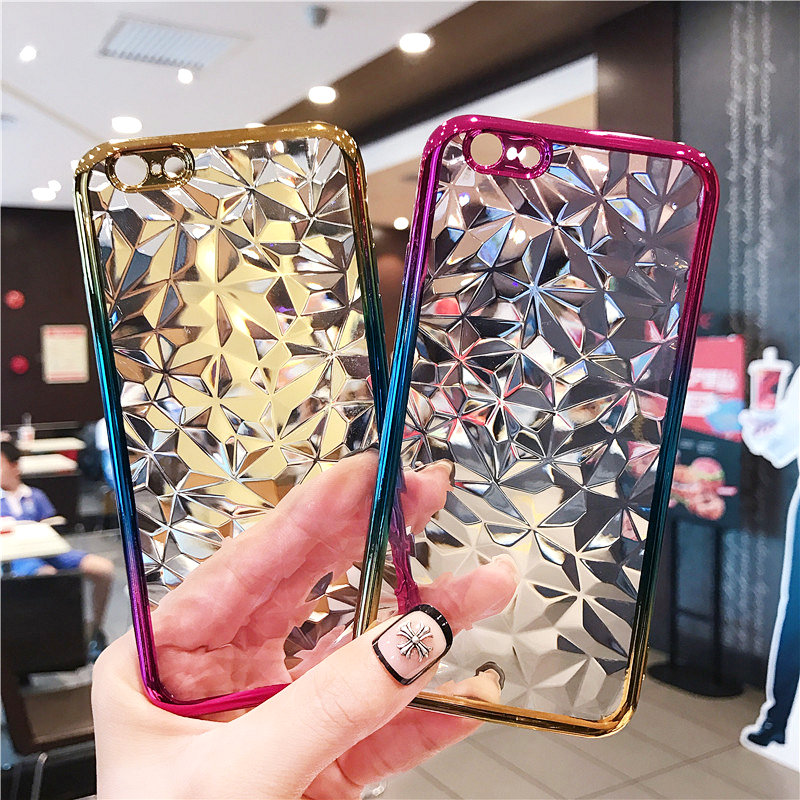 Simple Gradient Plating Soft TPU 3D Diamond Cases For Xiaomi Redmi Note 6 5A 4X Pro 6A 5 Plus 4A S2 <strong>Y2</strong> Y1 Mi8 Explorer A2 Lite