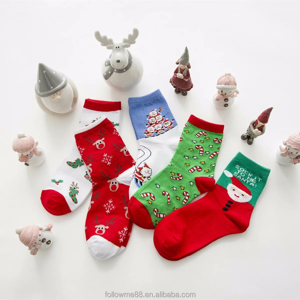 Ladies New Style Harajuku Animal Cartoon Socks 2017 Autumn Winter Women Casual Cotton Christmas Socks with box