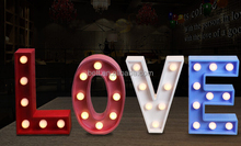 High quality indoor LED light up marquee bulb LOVE letters and MR&MRS letters sign