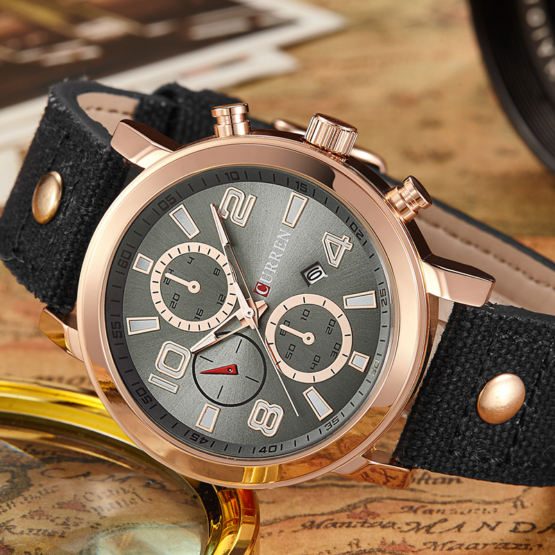 CURREN Luxury Brand Mens Watches Men Sports Watch Army Military Watches Quartz Hour Date Clock Relogio Masculino 8199