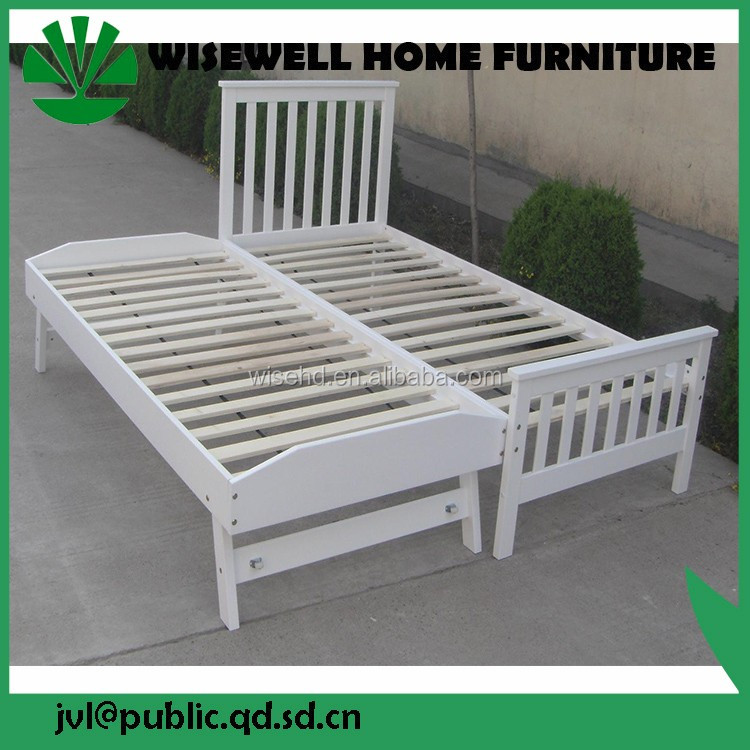 (W-B-0028) solid pine wood guest wall bed with trundle