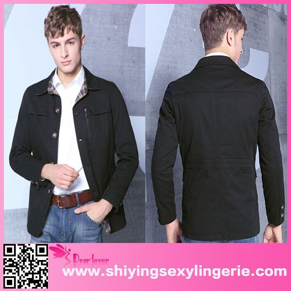 Classic Wholesale Black Mens Slim Fit Lapel Single-breasted Cotton non brand jackets