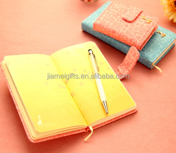 Korean style pocket size cute notebook,hard cover a6 notebook with buckle,promotional pu/faux leather ruled journal notebook