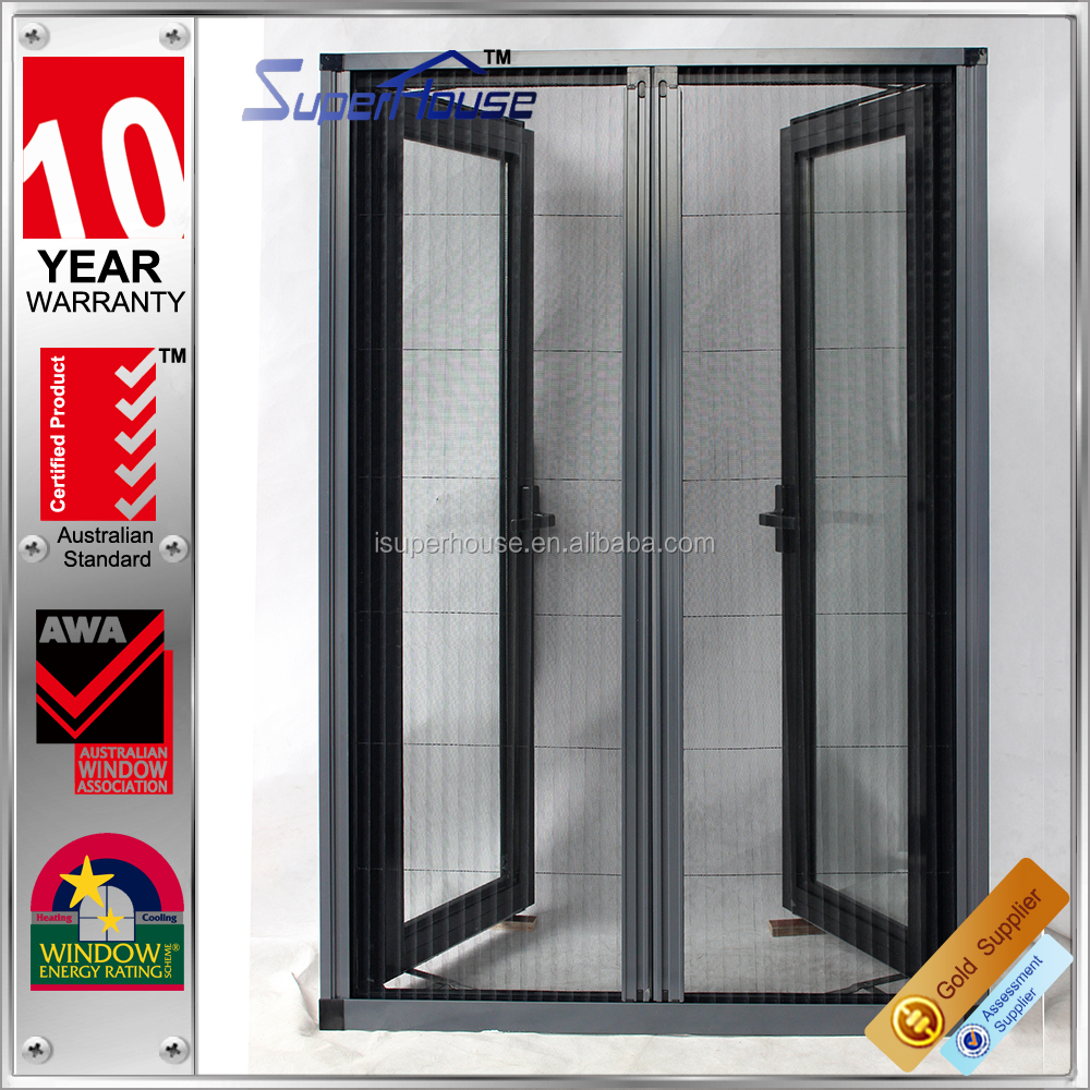 Australia AS2047 standard commercial system casement aluminium burglar proof window with retractable flyscreen