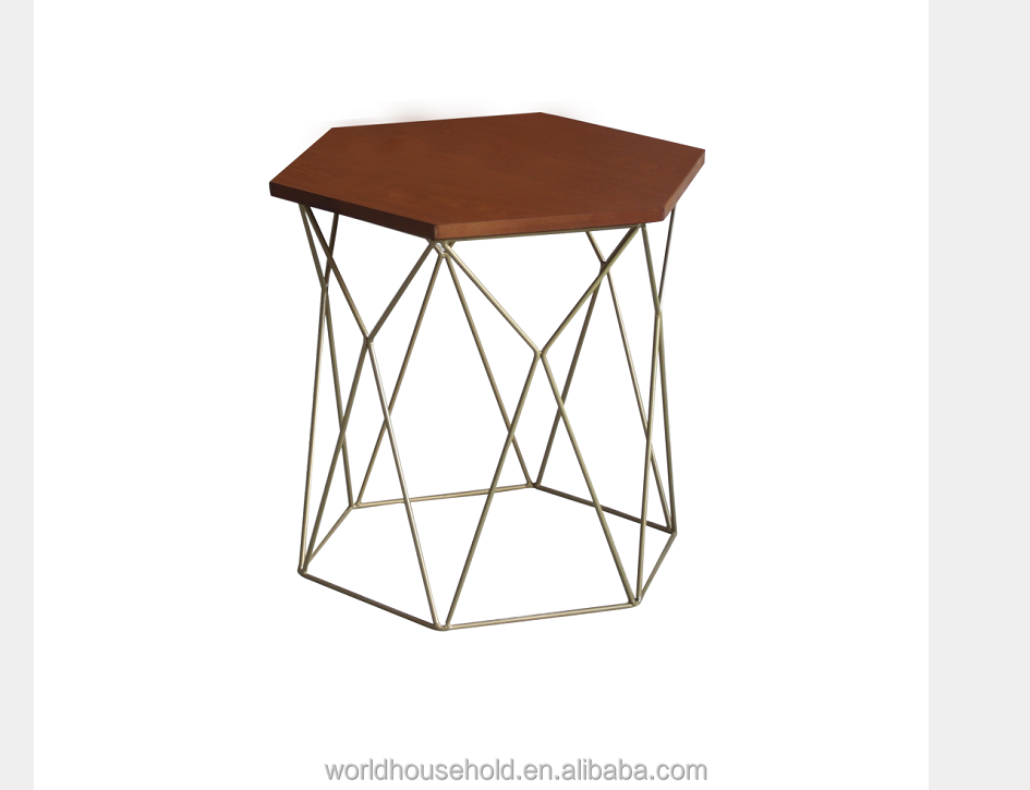 OEM High Quality Brass Look Geo coffee and Side Table