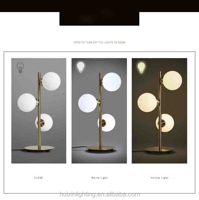 Nordic modern white glass ball hotel bedside decoration study room dimmable reading table lamp