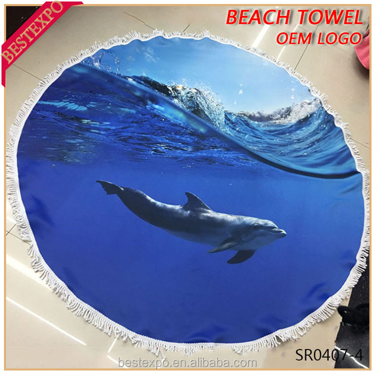 wholesale hawaii animal print dolphin blanket cotton round beach towel