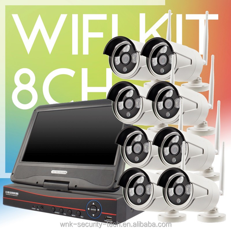 Vitevison 10inch monitor LCD with optional 1mp 1.3mp wifi camera H.264 8ch wifi NVR Kit