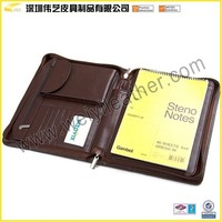 Handmade Top Sale Fashion Design Zippered Leather Portfolio Case For Iphone 5