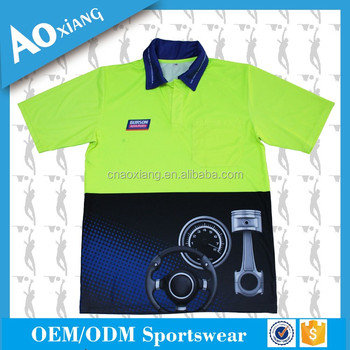 Factory direct wholesale sublimation fluorescent yellow worker uniform polo shirt