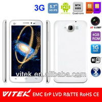 "Dual Sim Dual standby 5.7"" 720P HD IPS Android 4.2 Quad Core 8MP AF camera 3G Smart phone"