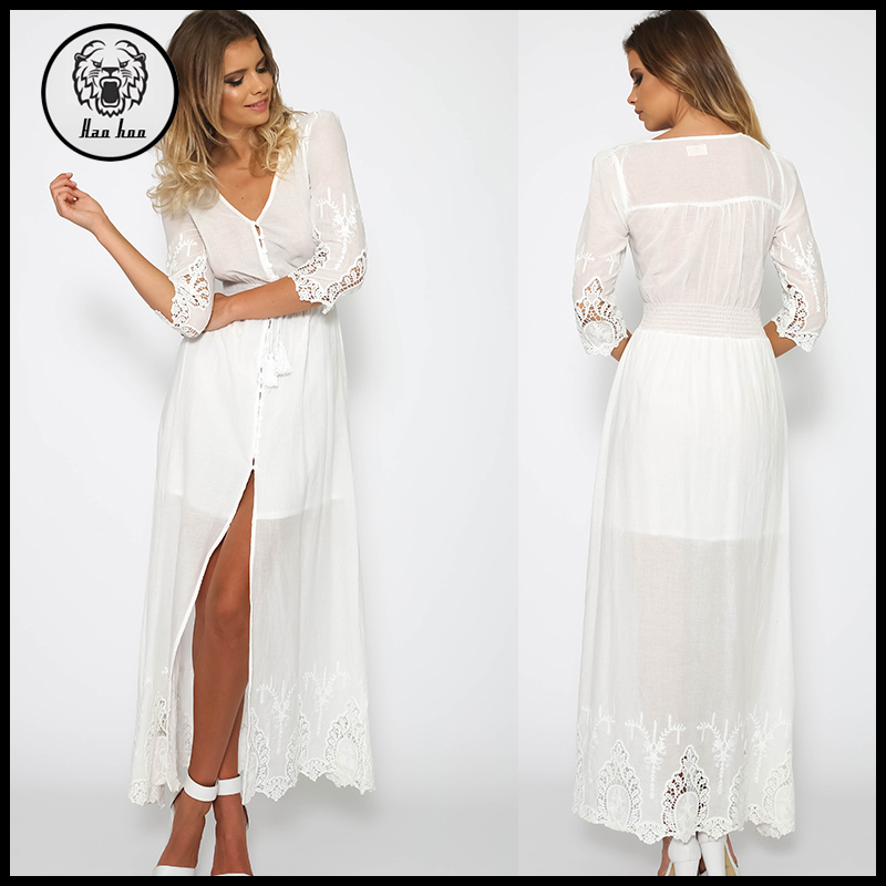 2015 Fall Sheer Sexy Ladies Half Sleeve Lace Sleeve Long Dress Chiffon New Style