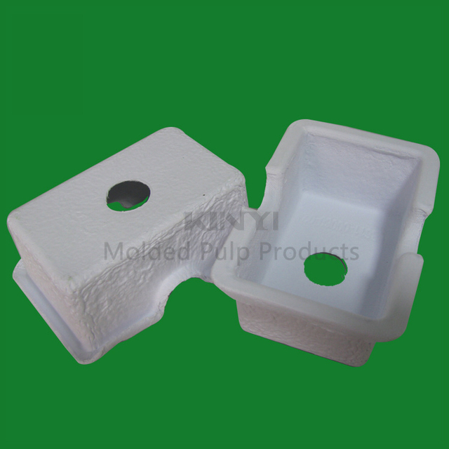White molded paper pulp eco friendly & biodegradable inner packaging tray