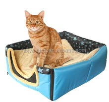 ODM winter warm long plush and jeans paw shape medium dog beds for small pets