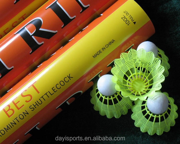 Nylon Feather badminton cock 12pcs/Tube Badminton Ball Yellow or White Nylon Feather Sport Game badminton shuttle cocks