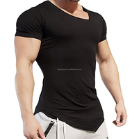 2018 High Quality Custom 95% Cotton 5% Spandex Slim Fit Men's Bodybuilding Muscle Training Workout Fitness Plain Gym T Shirt