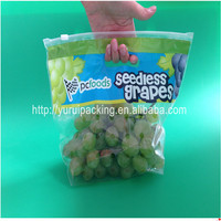 Customized producing grape packaged cheap slider plastic perforated bag