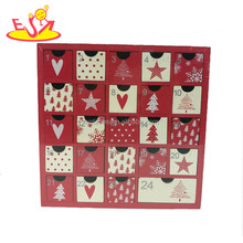 Wholesale beautiful baby wooden christmas countdown calendar with 24 mini drawers W09F012