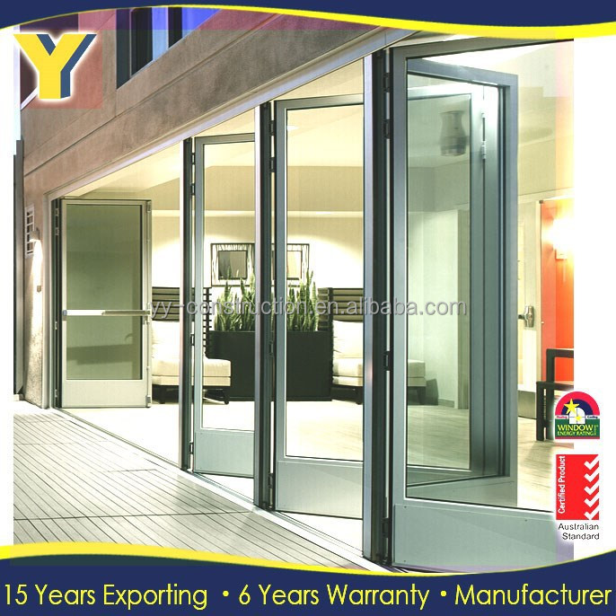 double glaze aluminium patio sliding door / outdoor folding door / stacker doors