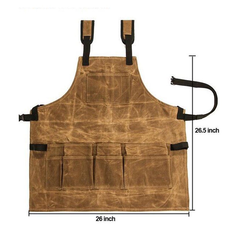 Heavy Durable Thickened Wax Canvas Apron 9 Pockets and Waterproof Tool Apron, Adjustable Workshop Woodworking Apron