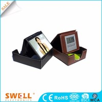 hot sale portable travel leather table alarm clock