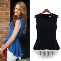 picture sexy woman splicing false two-piece europe summer sleeveless chiffon lady tops, sexy woman blouse S,M,L,XL 16446 lace ro
