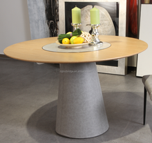 Modern wooden round lazy susan dining table