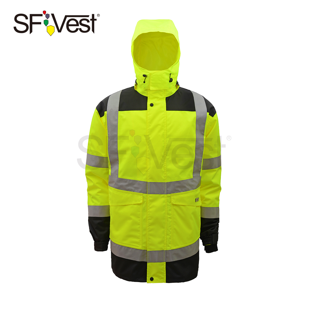 outdoor high visibility reflective safety jacket for men airport traffic roadway security waterproof raincoat workwear uniform