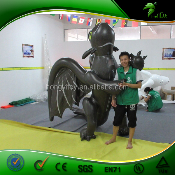 Factory Price Vivid PVC Inflatable Toothless Costume / Inflatable Black Dragon Suit