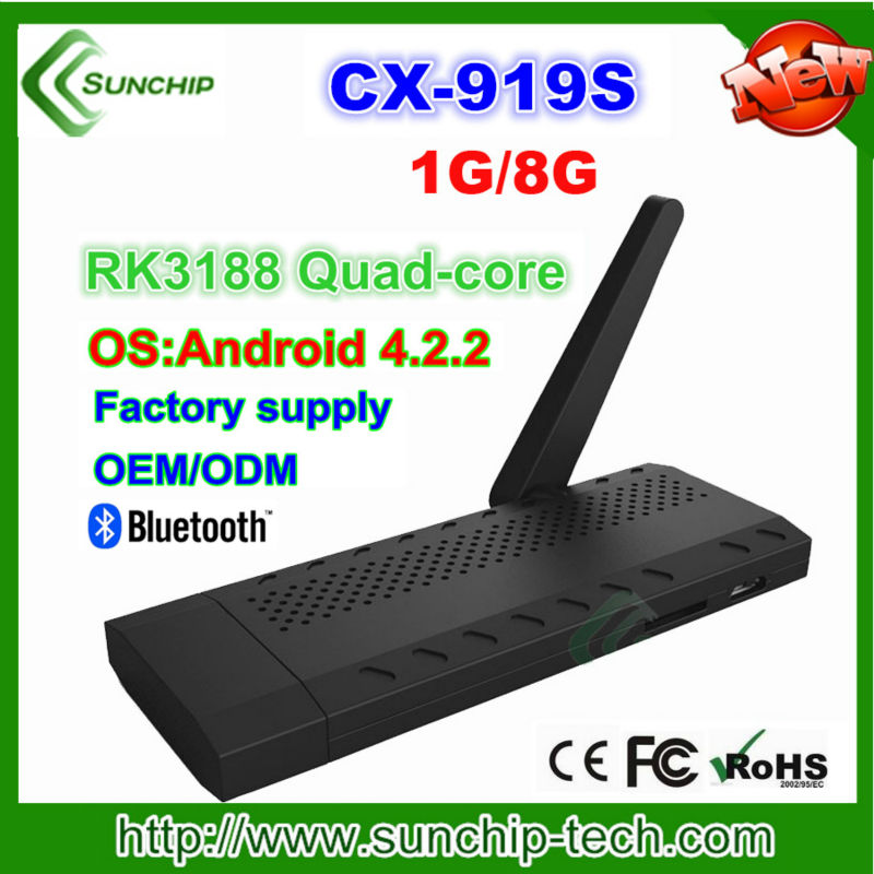 Android Mini PC TV stick Rockchip RK3188 1.8GHz Quad Core 2G RAM 8G ROM Wifi 2.4 andriod 4.2 TV stick