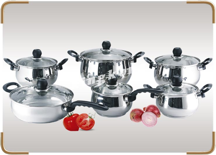 12PCS Stainless Steel Cookware Set Used Kitchenware As Seen On Tv