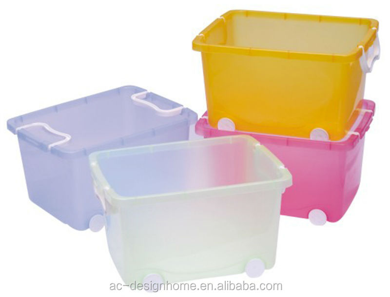 FUCHSIA, TURQUOISE, LIME GREEN, ORANGE 40L RECTANGULAR PP PLASTIC STORAGE BOX W/WHEELS