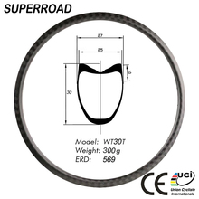 25mm Width 30mm CX Cycle 28 holes Inch Disc Fiber Tubular Clincher 700C Road Bicycle Carbon Bike Rims