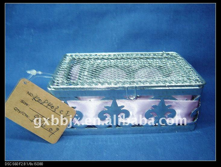 Silver rectangle wire decorative with purple coloured ribbon storage chinese new year gift