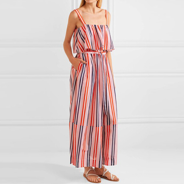 New arrival maxi dress striped ruffle sleeveless sundress for women