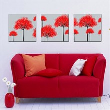 Chinese abstract red tree canvas group painting