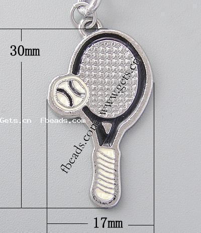 zinc alloy badminton racket phone pendant