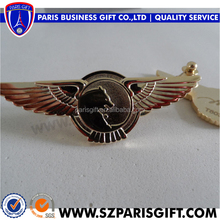 wings shape animal head badge with brooch pin