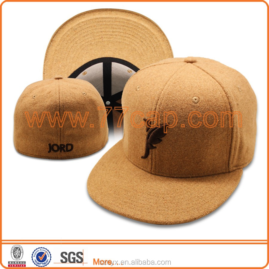 2016 Custom 100% Wool AZO Free 6 Panels Fit Stretch Snapback Cap with Custom 3D Embroidery