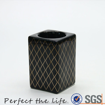 Ceramic Square Black Candle Holder jars