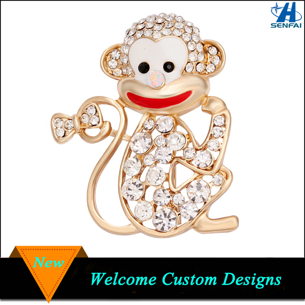 Gold Tone Rhinestone Smiling Monkey Brooch for Women